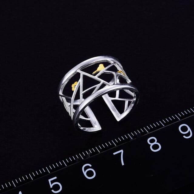 Lotus Fun Real 925 Sterling Silver Open Ring Fine Jewelry Oriental Element Window Decoration Paper-cut Design Rings For Women Earrings Women's Jewelry