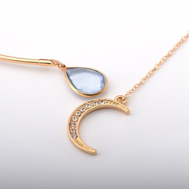 Enchanted Moon & Crystal Drop Necklace