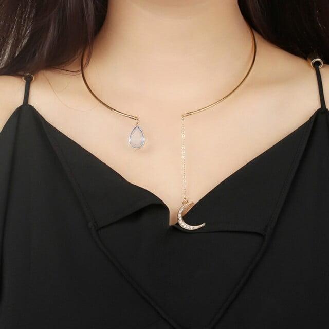 Enchanted Moon & Crystal Drop Necklace Necklaces